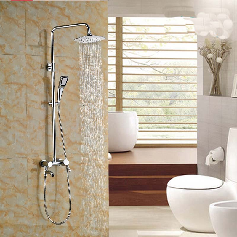 Contemporary Style Chrome Polished Wall Mount Rainfall Shower Set Faucet Wall Mount 8 Shower Head with Tub Spout china sanitary ware chrome wall mount thermostatic water tap water saver thermostatic shower faucet