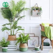 WHISM Hanging Decorative Flower Pots Straw Folding Basket Flowerpot Wicker Basket Handmade Rattan Nursery Pot Garden Pot Planter