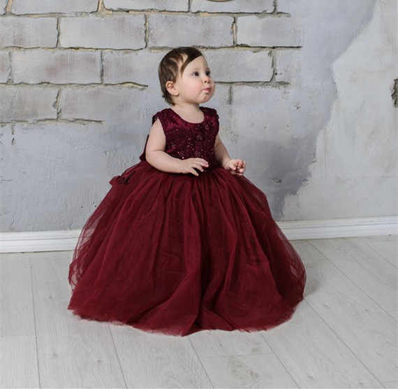 c7d39e6127 Detail Feedback Questions about Burgundy Flower Girl Dress Lace Tulle Tutu  Dress V Back Baby Girls Birthday Dress with Big Bow Size 2 16Y on  Aliexpress.com ...