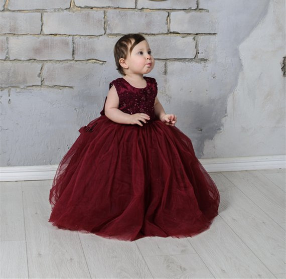 Burgundy Flower Girl Dress Lace Tulle Tutu Dress V Back Baby Girls Birthday Dress with Big Bow Size 2-16Y
