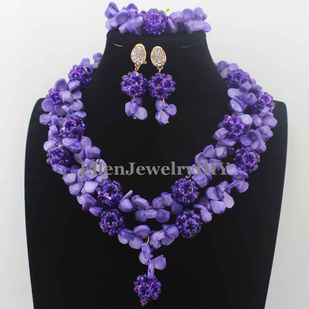New Marvelous Nigerian Wedding Beads Necklaces Purple Coral Beaded ...