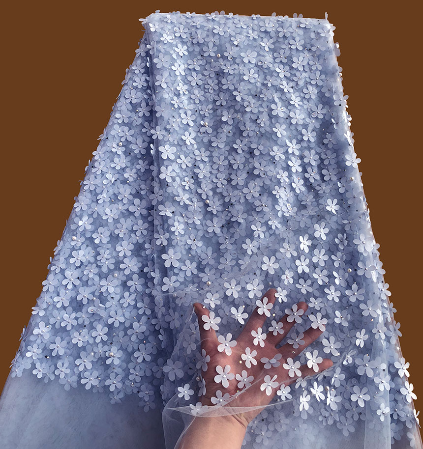 Light blue allover small Appliques tulle lace high quality African french lace fabric with beads stones 5 yards /pc Hot saleLight blue allover small Appliques tulle lace high quality African french lace fabric with beads stones 5 yards /pc Hot sale