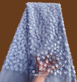 Light blue allover small Appliques tulle lace high quality African french lace fabric with beads stones 5 yards /pc Hot sale