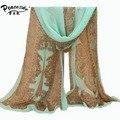 Мода Женщины Шифон Печатные Шарф Дизайнер Осень Градиент Плед Цветок Leopard Повседневная Шелковые Шарфы Длинные Wrap Пашмины