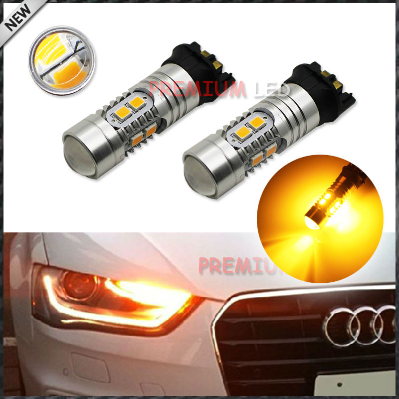 Amber  Error Free PWY24W LED Bulbs For BMW F30 3-Series 320i 328i 335i For Volkswagen MK7 Golf GTi For Daytime Running Lights ijdm amber yellow error free bau15s 7507 py21w 1156py xbd led bulbs for front turn signal lights bau15s led 12v