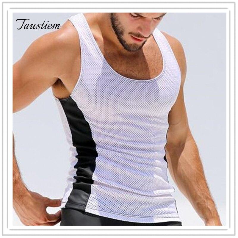 Taustiem Brand   Tank     Top   Male Stringers Sleeveless   Top   Tees Shirts Vest Men Mesh Elasticity   Tank     Top   Men Motion Casual Vest