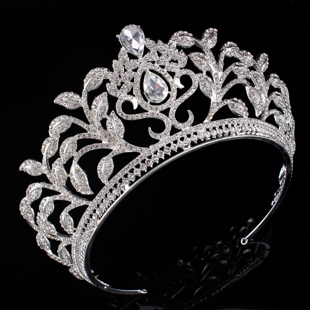 New Alloy Leaf Shaped Tiara Crown Headband Bridesmaid Hair Jewelry Bridal Wedding Hair Accessory