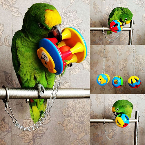Cute Pet Bird Plastic Chew Ball Chain Cage Toy For Parrot Cockatiel Parakeet Pet Parrot Toy Bird Hollow Bell Ball Drop Shipping