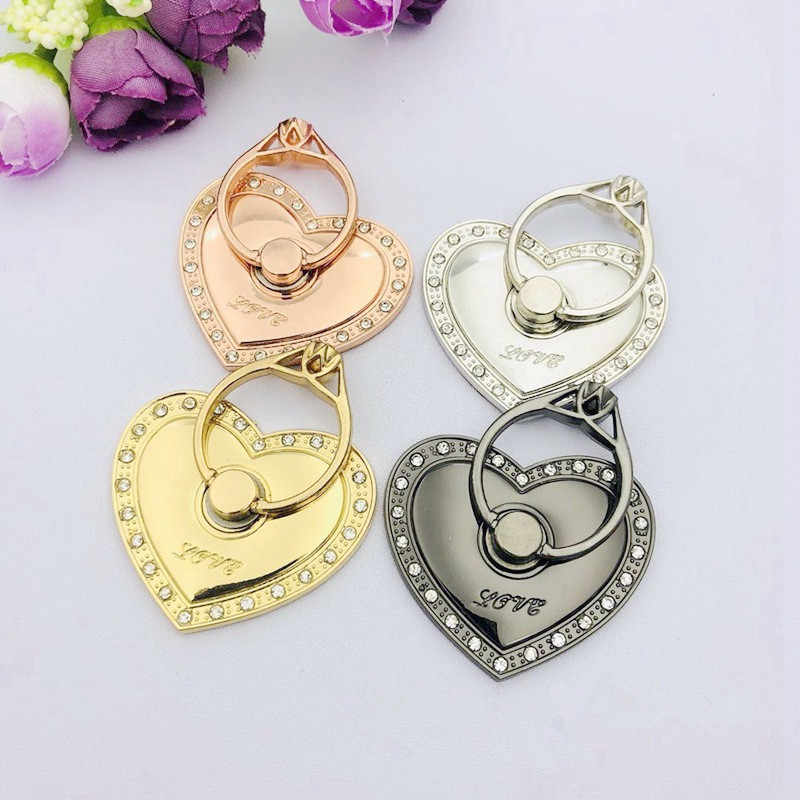 Heart Shape Finger Ring Phone Holder Stand with Rhinestone Universal Mobile Phone Finger Ring Stent Support Bracket