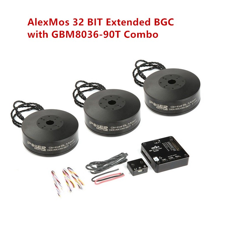 Iflight Ipower AlexMos 32 BIT Extended BGC with Gbm8036-90t Brushless gimbal Motor Combo set Support SLR Brushless Stabilizer 3pcs iflight gbm4108h 120t brushless motor with encoder alexmos 32bit bgc gimbal controller system combo for gimbal stabilizer