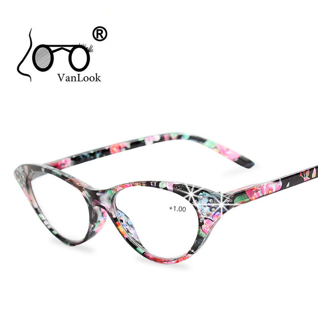 3a733087313 Rhinestone Cat Eye Reading Glasses for Farsighted Floral Women s Spectacles  with Diopters Fashion Degree Eyeglasses +