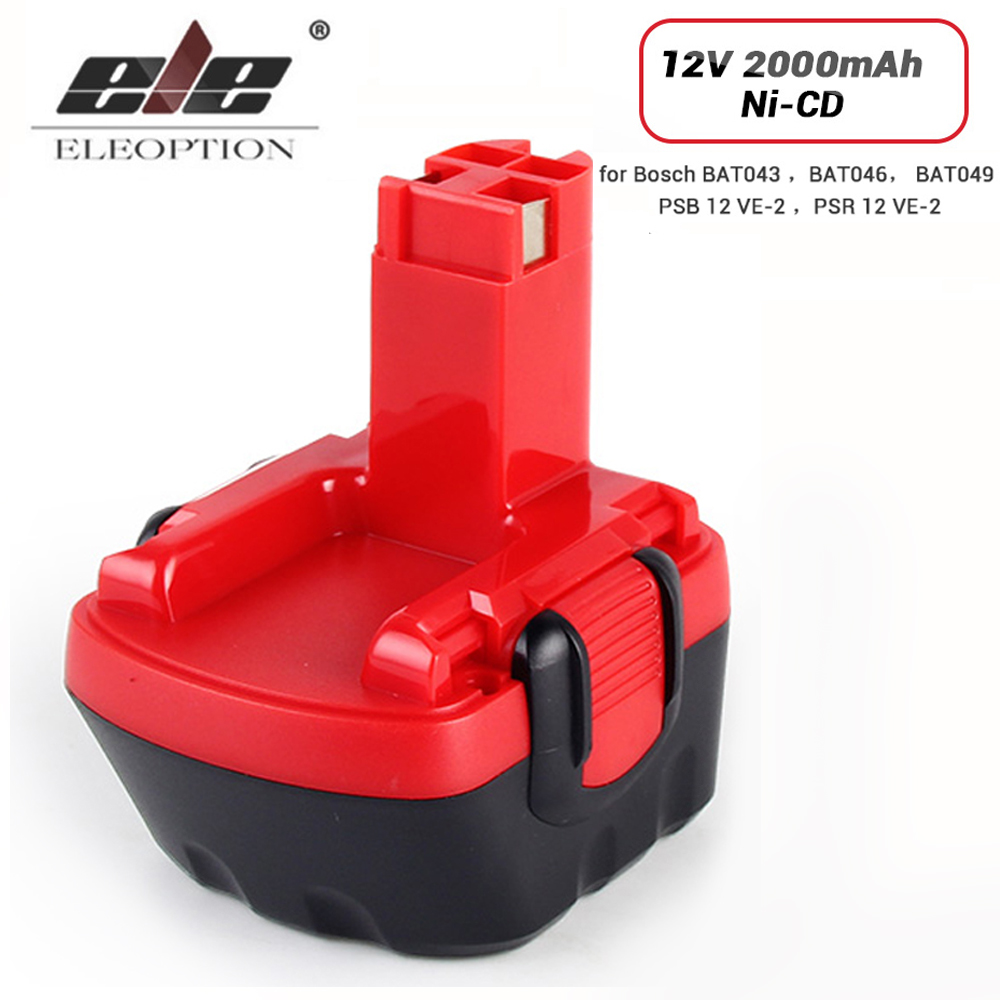 ELEOPTION 12V 2000mAh Ni-CD Battery For Bosch 12V Drill GSR 12 VE-2,GSB 12 VE-2,PSB 12 VE-2, BAT043 BAT045 BTA120 26073 35430