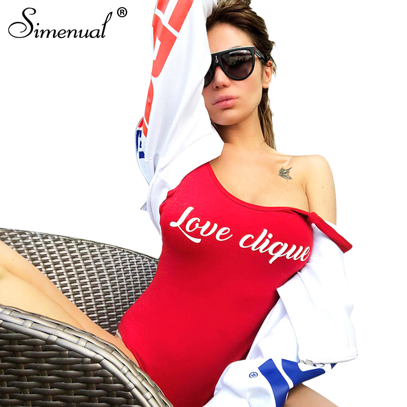 Simenual 2018 Summer red bodysuit women summer clothing sleeveless tanks body jumpsuit sexy hot skinny one piece bodysuits sale