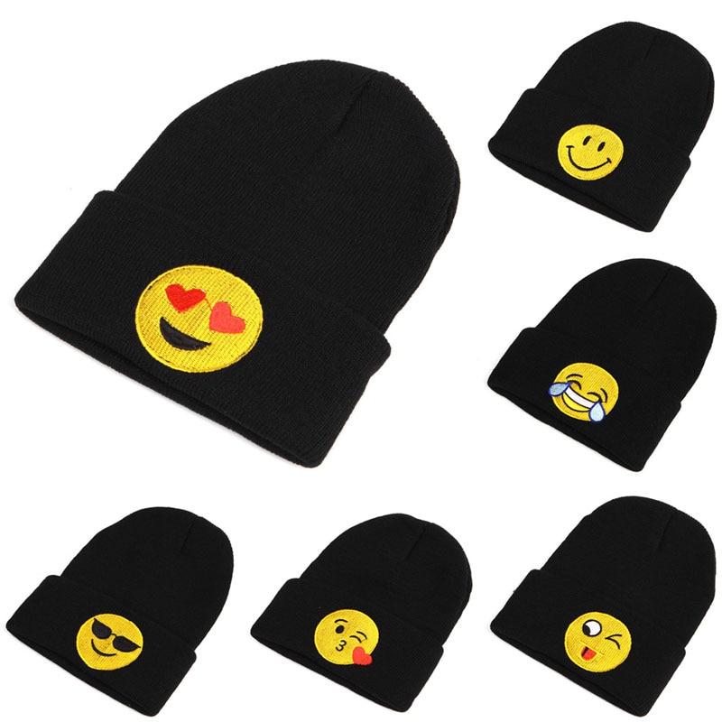 Cute Emoji Women Men's Child Beanie Knit Ski Cap Hip-Hop Winter Warm Unisex Hat pentacle star warm skull beanie hip hop knit cap ski crochet cuff winter hat for women men new sale