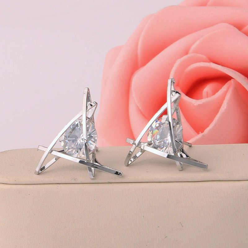 Tinh thể Zircon Bông Tai Hình Tam Giác Vàng Bạc Đen Plated Hollow Stud Earring Rhinestone Charm Nữ Jewelry Phụ Kiện