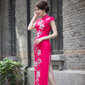 Rose Red Vintage Evening Dress Short Sleeve Long Cheongsam Dress Chinese Traditional Dress Qipao Evening Dresses Gown