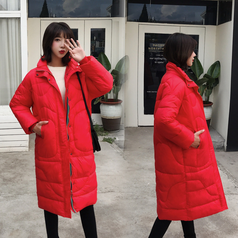 Winter Loose Long Down Coat Jacket Thick Warm Women Casaco Feminino Abrigos Mujer Invierno Student Cotton Padded Wadded Parkas
