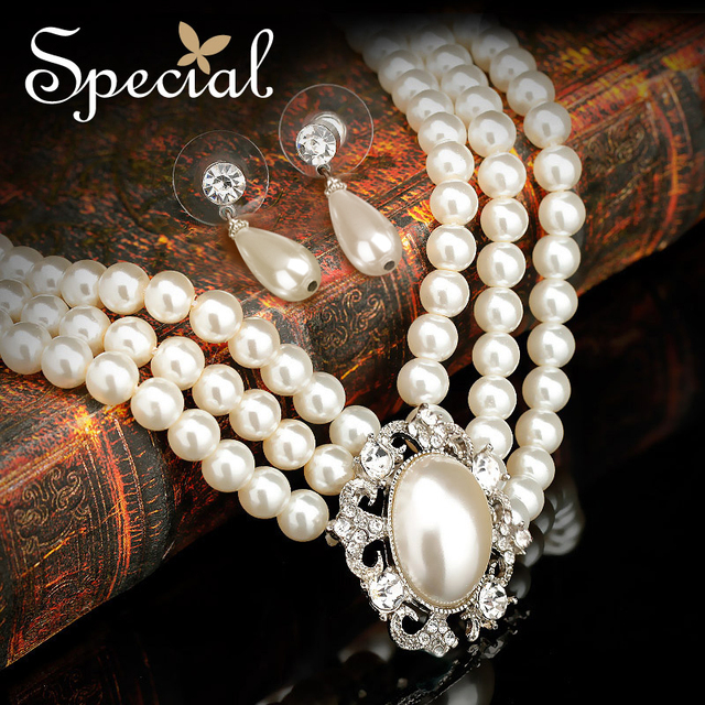 Special Fashion Wedding Jewelry Set Ceramic Beads Necklaces Stud Earrings Vintage Statement Pearl Jewelry for Bridal TZ141102