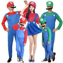 Взрослый ребенок женщина зеленый/красный костюм супермарио платье супер Марио костюм с шляпой и бородой