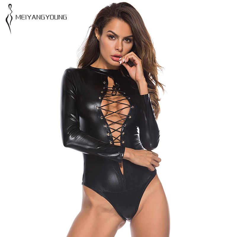 סקסי שחור גותי בגד גוף נשים ארוך שרוול תחבושת פתוח חזה עור סקיני Romper ליידי מועדון לילה תלבושות בתוספת גודל סרבל