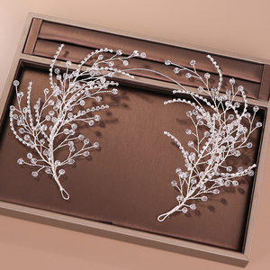Image 2 - Diademas de diamantes de imitación de cristal para mujer, accesorios para el cabello de boda hechos a mano, Color plateado