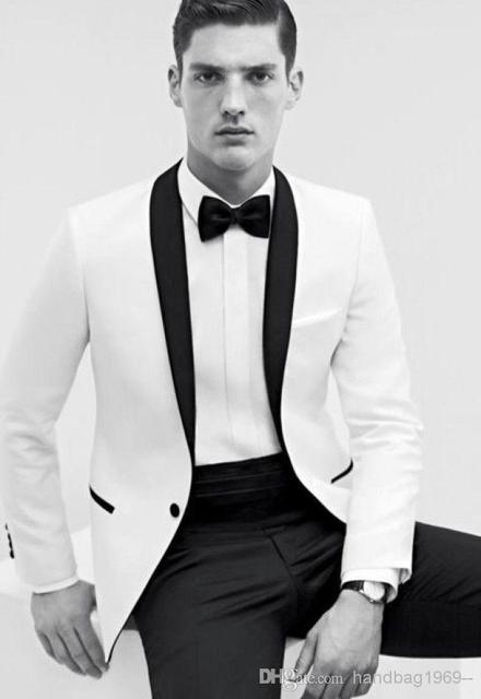 9f1ce6e39997 Top pouplar bianco con colletto nero smoking dello sposo uomo prom  personalizzare il vestito (jacket