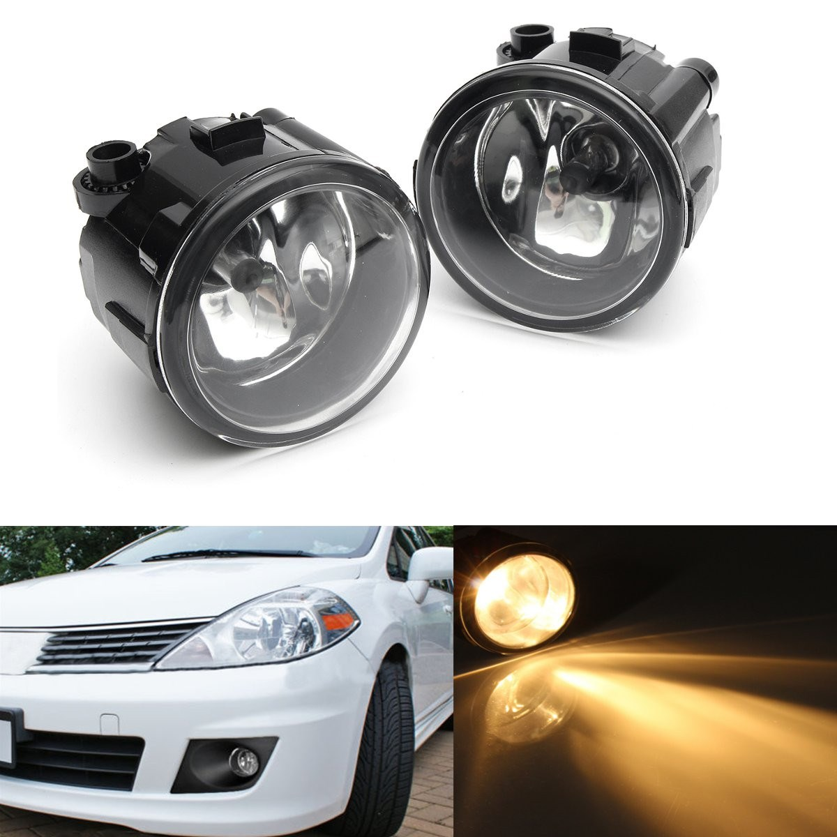 1 pair clear front bumper grille fog light h11bulb switch for nissan versa 2007 2008