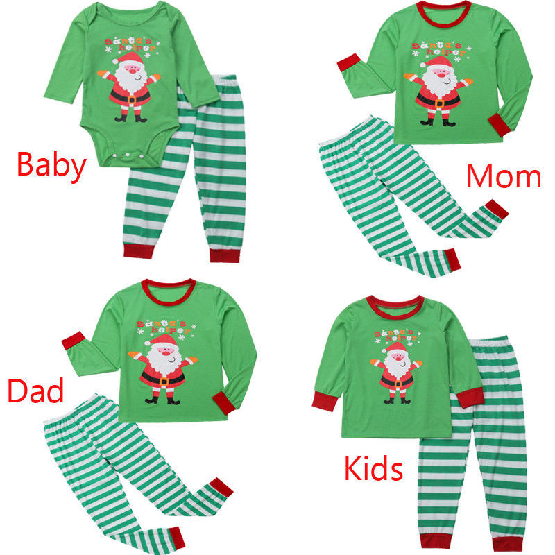 2018 Santa Druck Familie Passenden Grün Farbe Outfits Mama Papa Kinder Baby Kleidung Sets Casual Pjs Frauen Männer Mädchen Jungen Pyjamas Set Elegante Form