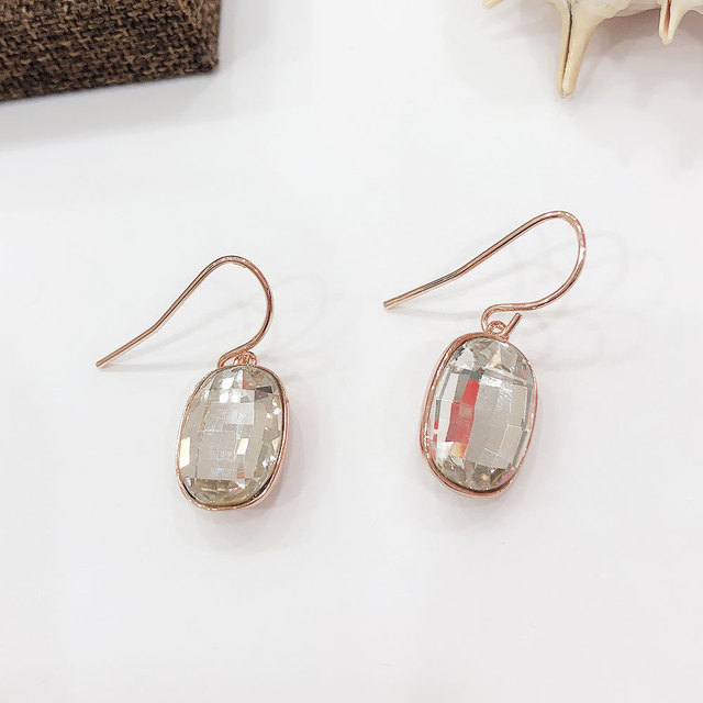 Viennois Fashion White Crystal Dangle Earrings for Women Rose gold Color  Drop Earrings Female Jewelry f7b0fba99c87