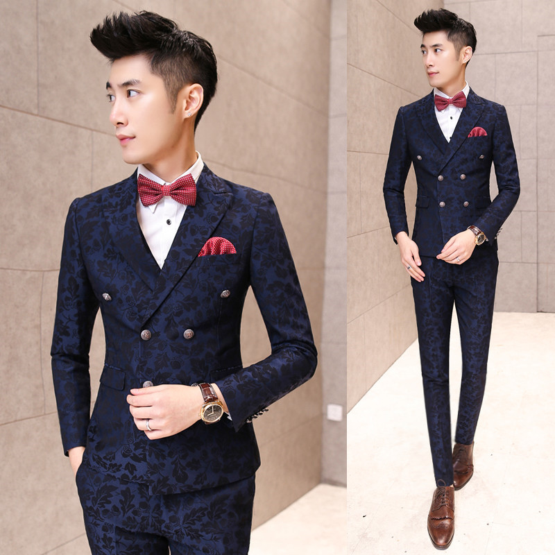 fe6f051217bf Jacket+Vest+Pants Boys Homecoming Suits 3 PCS / Set Flower Jacquard Floral  Printed Slim Wedding Suit for Men Dress Costume Green