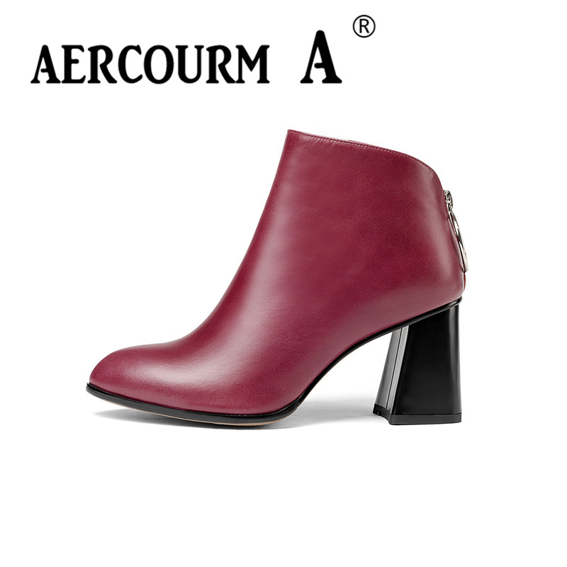 Aercourm A Women Genuine Leather Ankle Boots Lady Cowhide Boots Winter Short Plush Pointed Toe Shoes High Heel Boots Zipper Z943 large size 34 40 2016 fall women ankle boots cowhide soft leather flower genuine leather women short boots flat with shoes lady