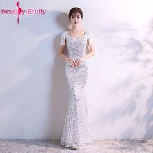 Schönheit Emily Silber Lange Abendkleider 2017 Mermaid Pailletten V- ausschnitt Sleeveless Formale Partei-abschlussball-kleider 75bc5bd217