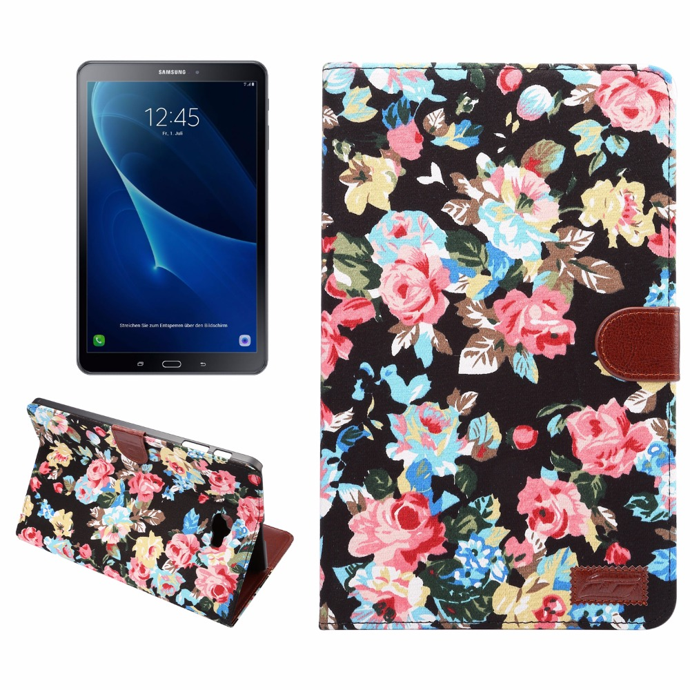 Fashion Printed cloth smart Flower Tablet Case Cover For Samsung Galaxy Tab A A6 10.1 2016 T585 SM-T580 T580N funda cases