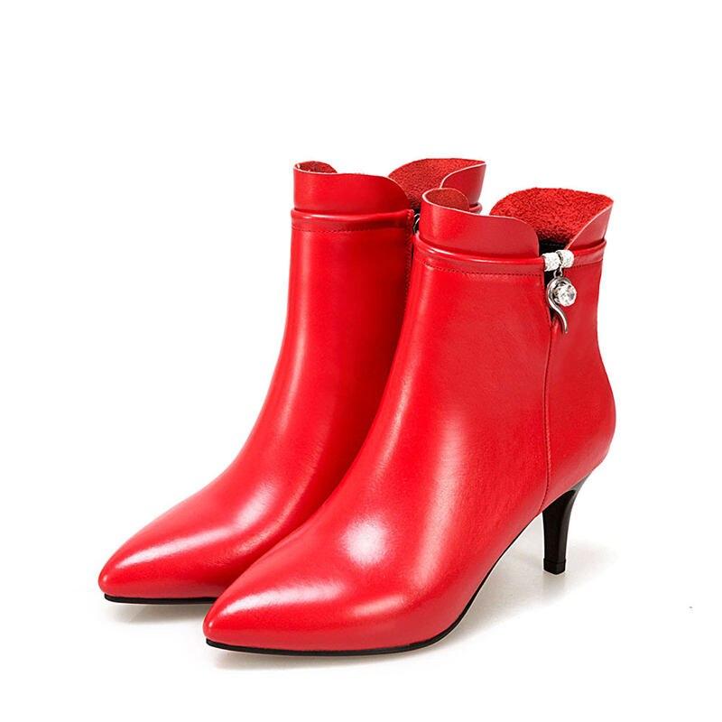 Botas 43 Cuero blanco Cremallera Mujeres Morazora Tamaño Talón Nuevo 2018 Alto Del Negro rojo Elegante Acentuado Dedo 33 Pie Las Genuino Fino Tacón De wxCYRxg8