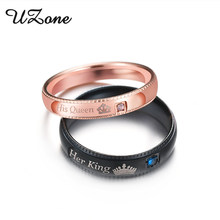 UZone Promise Couple Rings Her King & His Queen Crown Charm Letter Ring For Women Men Anel Masculino(China)