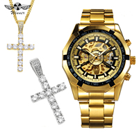 WINNER HIP HOP Punk Golden Skeleton Auto Mechanical Mens Watches Top Brand Luxury Jewelry Set + Crystal Iced Out Cross Necklace