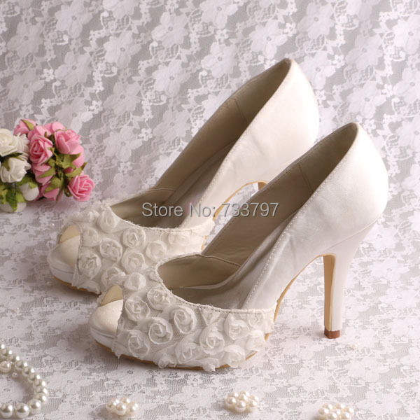 ФОТО Wedopus Custom Handmade Flowers Women Shoes Wedding High Heeled Open Toe