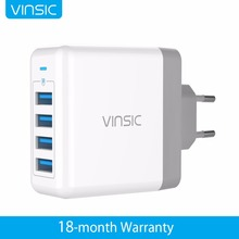 Vinsic Portable USB Charger 4 USB 5V 8A Wall Charger Travel Charger for Samsung iPhone X 8 8 Plus Xiaomi Huawei iPad iPod MP3