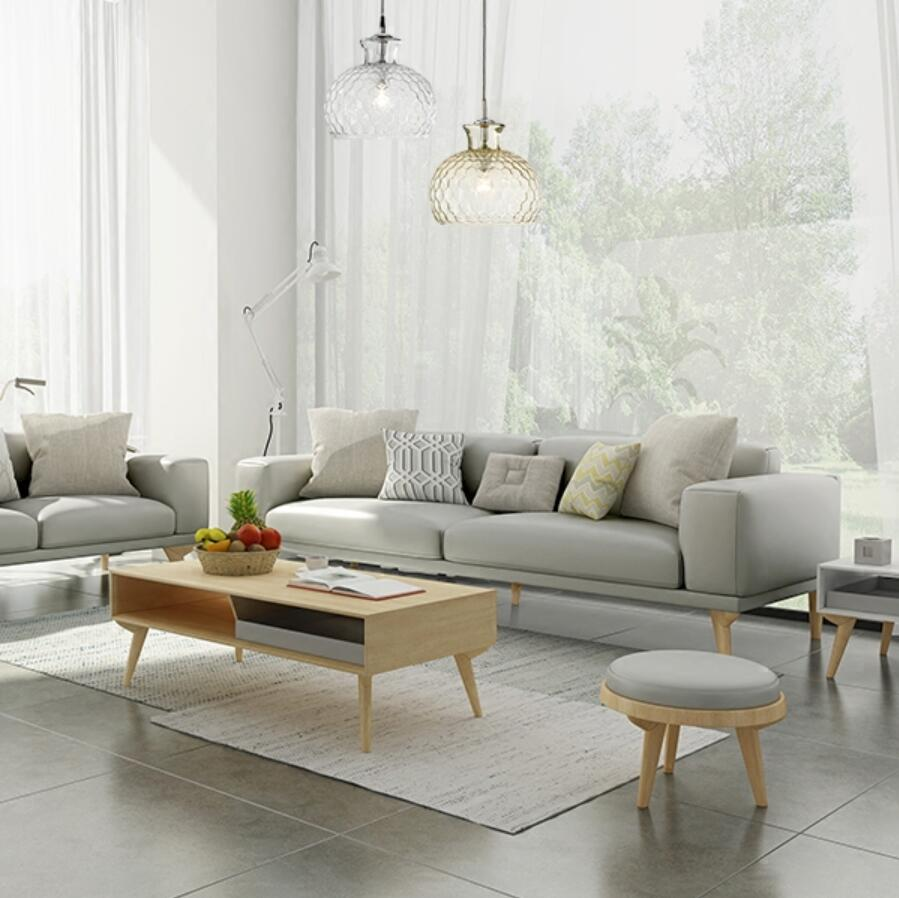 colders living room furniture. Korean Modern Furniture. Nordic Small Apartment Leather Sofa Cowhide Solid Wood Combination Three Seats Fashion Colders Living Room Furniture A