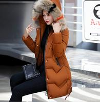 2018 winter long cotton clothing with cap color fur collar women thick coat cotton tide wholesale discount