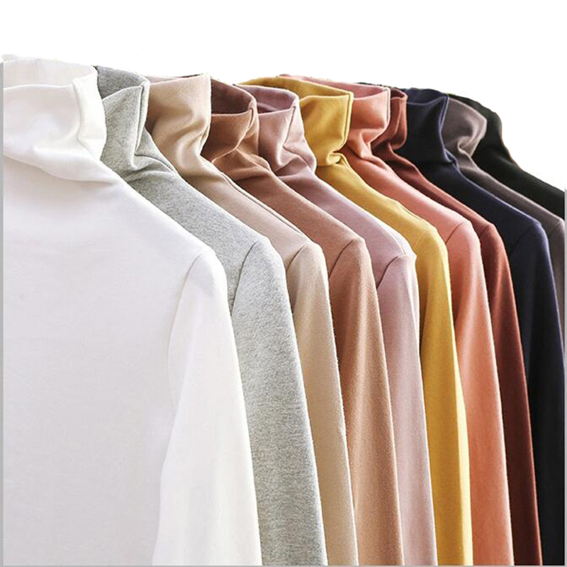 CHRLEISURE Large Size Elasticity Bottoming T Shirt Women High Collar Long Sleeve Slim Fit Women's Tops Autumn Wild Tshirt