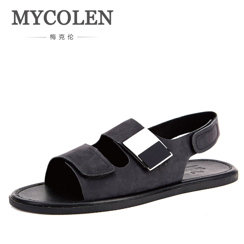 MYCOLEN Genuine Leather Men Sandals Fashion Black Handmade Male Beach Sandals Summer Leather Sandals Men Slippers Beach Shoes поводок для собак ферпласт клаб g10 120 красный