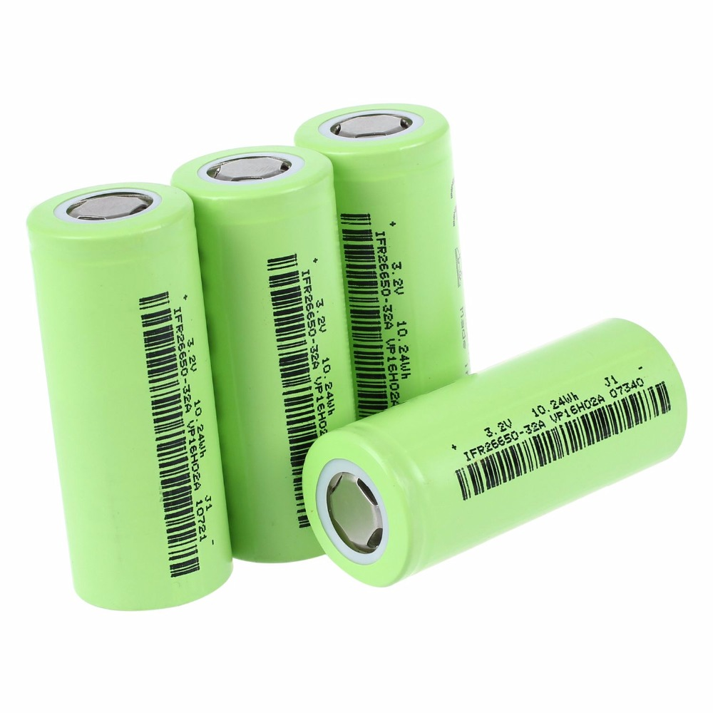 AAAE Soshine 4x IFR 26650 batterie 3.2 V Rechargeable 3200 mAh 30A haut plat LiFePO4 violet