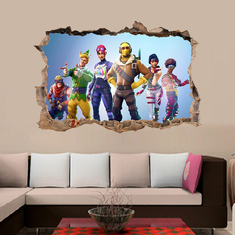 Wall-Stickers Murural Goodlife Fort  Wall  Self-adhesive Bedroom Living Room Home Decoration Cartoon Game