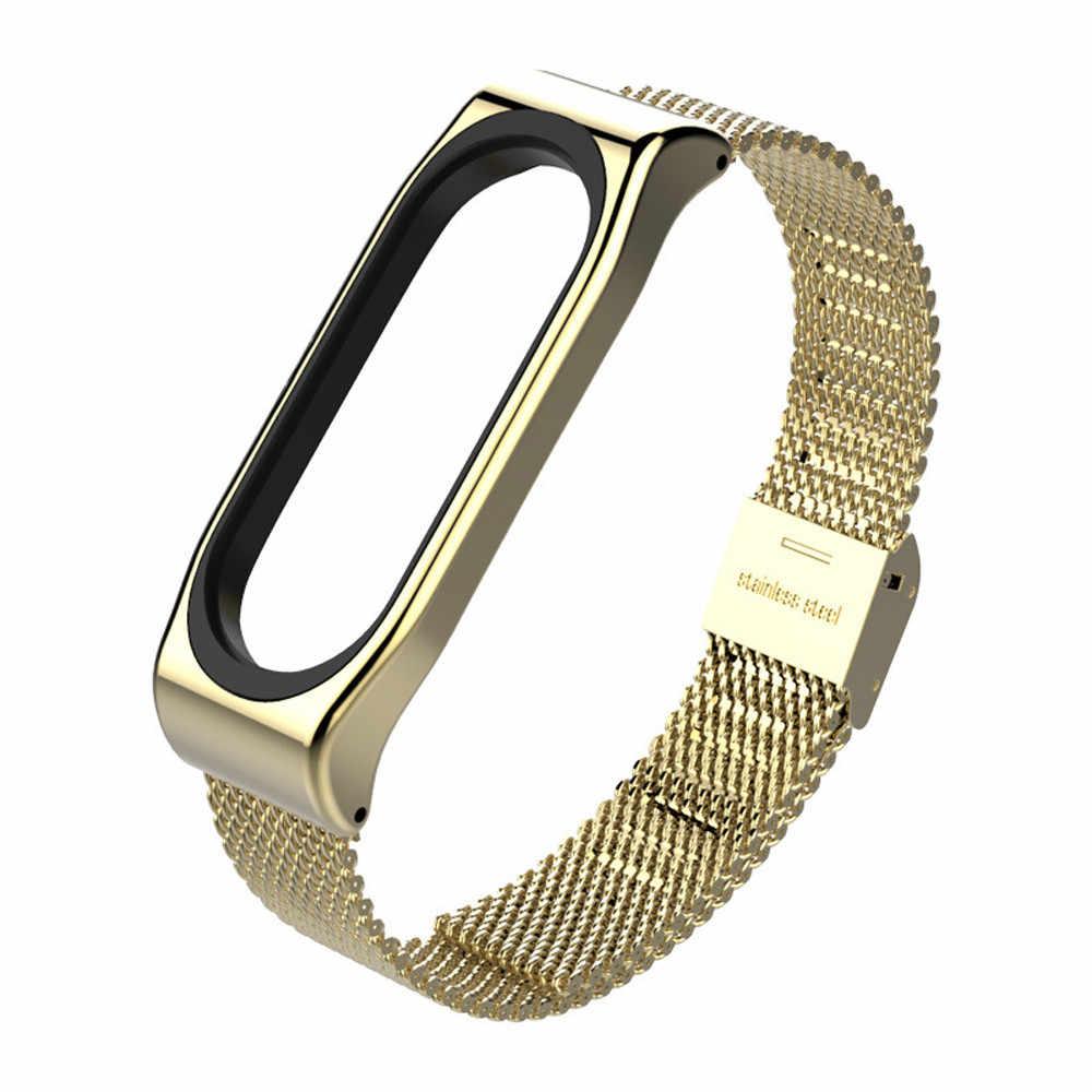 جهاز تعقب للياقة البدنية سوار لياقة بدنية الفولاذ المقاوم للصدأ سوار استبدال حزام (استيك) ساعة حزام ل شياو مي الفرقة 3 smartwatch
