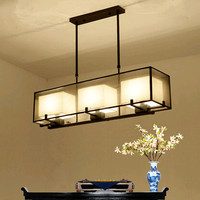 Mordern в китайском стиле Винтажные ткани прямоугольник Подвесные светильники роскошный Ностальгический Железный три светильники для крыльц