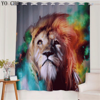 YO CHO Colorful lion Animal window curtain Polyester Cotton fabric curtains for bedroom baby room tende per il salone Deco