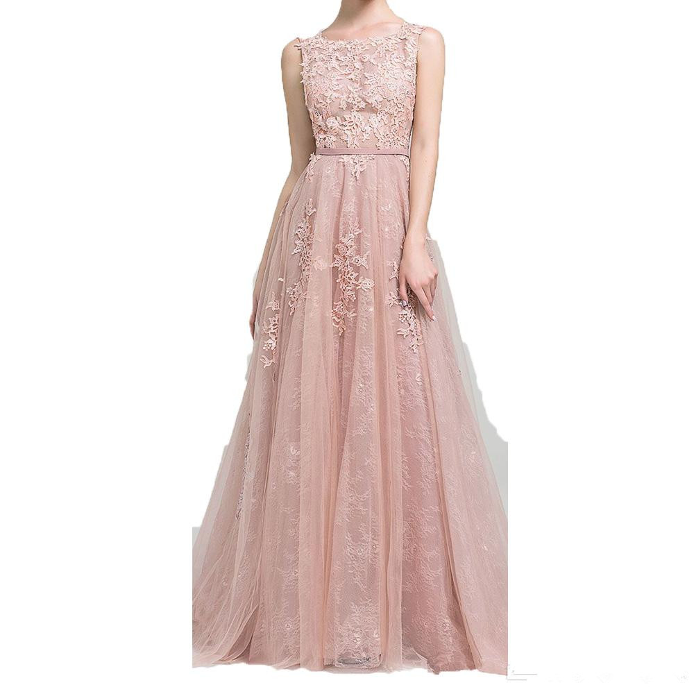 Blush Robe De Soiree 2019 A-line Tulle Appliques Lace Sexy Long Women Party   Prom     Dresses     Prom   Gown Evening   Dresses