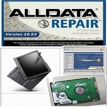 Installed well auto repair software alldata 10.53 and mitchell auto3.38 software laptop all data with 1tb hdd x200t laptop touch