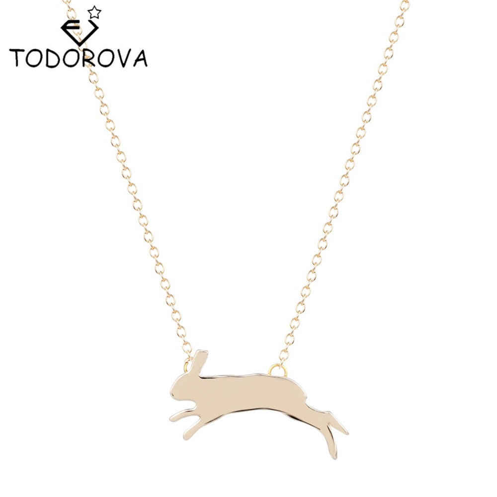 Todorova Simple Cute Bunny Silhouette Charm Animal Necklace Unique Running Rabbit Pendant Brand Jewelry Birthday Gift for Women ...